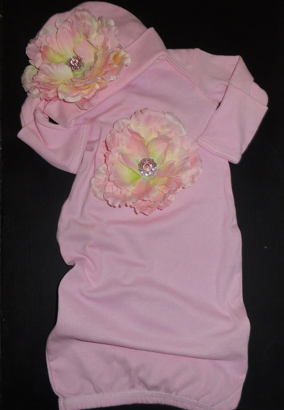"Take me Home Pink Rose Newborn Gown & Hat Set  from Our ""Blooming Collection  by Oh Baby Couture"