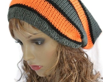 Hand knitted slouchy beanie, Valentines Day, tam hat
