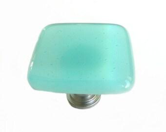 Light Aqua Blue Fused Glass Knob Hardware - Beach House Decor