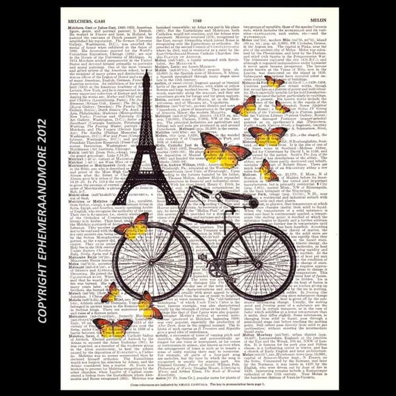 Vintage Bicycle art print PARIS Tour de Eiffel France summer butterflies bike dictionary print vintage upcycled book page 8x10