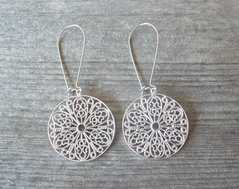 Boho Silver Filigree Earrings - Bohemian Earrings - Fall Fashion Bohemian Jewelry