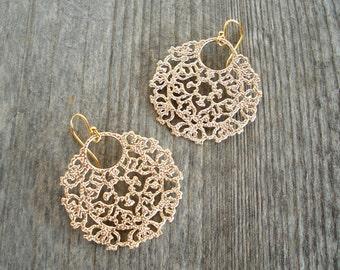 Boho Gold Filigree Earrings - Beach Bohemian Earrings - Bohemian Jewelry - Beach Wedding Jewelry