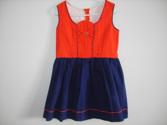 Folk Style Navy and Red Dress
