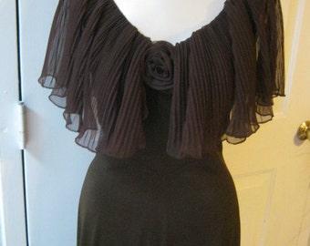 Vintage brown knee length dress brown dress  sheer crystal pleat collar, crystal pleat collar capelet dress size S or M