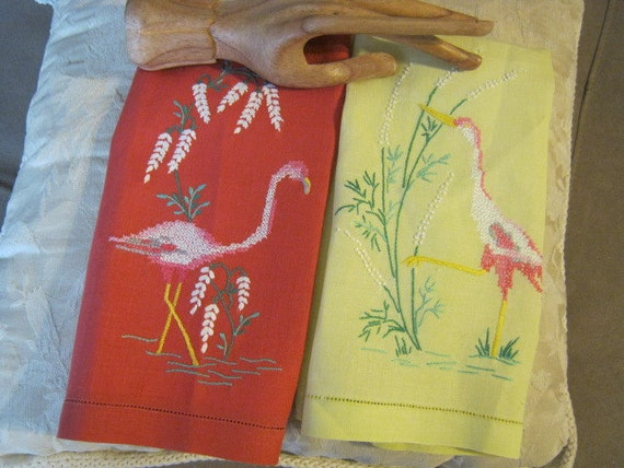 Adorable embroidered tea towels with flamingo and/or heron designs