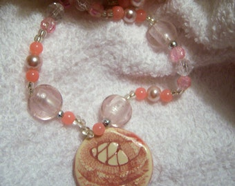 Pink Lace Ceramic Necklace