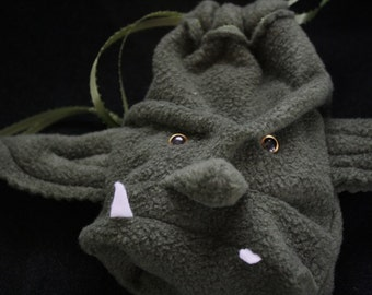 Dice Bag GROMM the ORC / Drawstring Pouch wristlet purse  for WoW Warhammer DnD- Custom Made for You