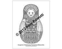 Hungarian of Kalotaszeg, Transylvania Matryoshka Coloring sheet PDF