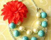 Statement Necklace Multi Strand Necklace Flower Necklace Turquoise Jewelry Coral Necklace Red Jewelry Bridesmaid Gift