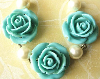 Flower Necklace Turquoise Jewelry Blue Rose Necklace Bridesmaid Jewelry Single Strand Bib Gift
