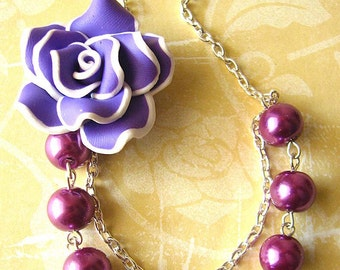 Flower Necklace Bridesmaid Jewelry Purple Necklace Purple Jewelry Statement Necklace Bridal Party Gift for Her