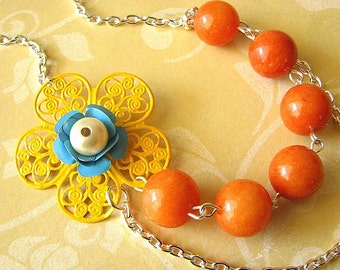 Statement Necklace Yellow Flower Necklace Orange Necklace Bridesmaid Jewelry Bib Necklace Beadwork