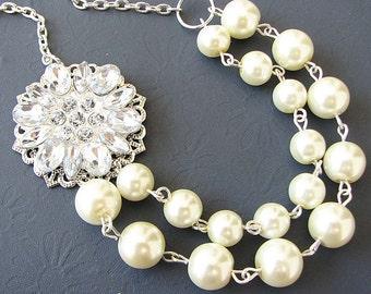 Wedding Necklace Bridal Jewelry Flower Necklace Wedding Jewelry Pearl Rhinestone Necklace Double Strand Beaded
