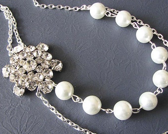 Bridal Necklace Wedding Jewelry Bridal Bib Necklace Bridal Jewelry Set Pearl Rhinestone Bridesmaid Gift
