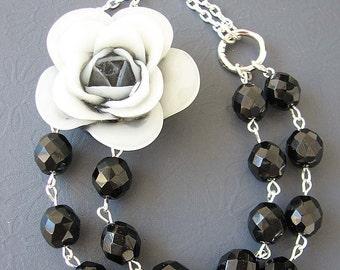 Bib Necklace Flower Necklace Black Necklace Black and White Jewelry Statement Necklace Crystal Necklace
