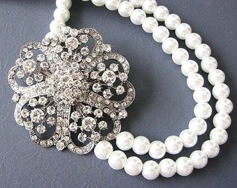 Bridal Jewelry Statement Necklace Crystal Wedding Jewelry Bridal Necklace Double Strand Bridesmaid Gift Set Rhinestone Bib