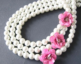 Statement Necklace Beaded Necklace Pearl Jewelry Flower Necklace Multi Strand Pink Jewelry Pearl Necklace Woman Gift