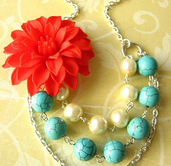 Statement Necklace Multi Strand Necklace Flower Necklace Turquoise Jewelry Gift For Her Coral Necklace Red Jewelry Bridesmaid Gift