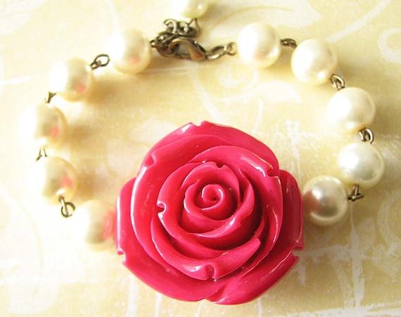 Bridesmaid Jewelry Beaded Bracelet Rose Jewelry Red Bracelet Charm Bracelet Flower Jewelry