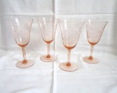 Vintage 1920s/30s Set of 4 Exquisite Pink Crystal Wine Stemware with Etched Columbine Design