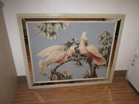 Vintage 1950s Beautiful Pink Cockatoo Textured Print in 33x27 Mirrored Frame Signed Turner