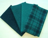 "Hand Dyed Wool Felt, MALACHITE, Four 6.5"" x 16"" pieces in Pure Teal Green, Perfect for Rug Hooking, Applique and Crafts"