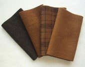 "Hand Dyed Wool Felt, PECAN, Four 6.5"" x 16"" pieces in Golden Browns, Perfect for Rug Hooking, Applique and Crafts"