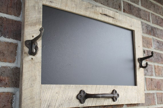 Reclaimed Barn Wood Chalkboard with a Towel Bar and 2 Double Hooks Perfect for Your Home, or Office