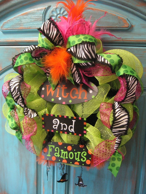 WITCH AND FAMOUS lime deco mesh wreath w/ ribbon and feathers- Halloween wreath