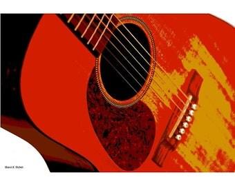Set of 3 RED Guitar Music Instrument Digital Art Musician Entertainment Performing Wall Decor 8 x 10 Giclee Print