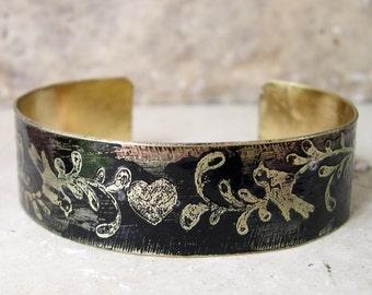 Etched Brass Cuff Bird Bracelet
