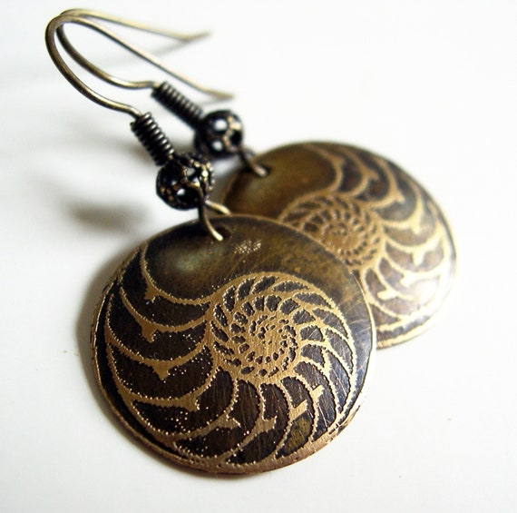 Etched Brass Nautilus Earrings