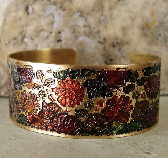 Etched Brass Cuff Hand Painted Flowers