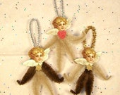 Angel Victorian Vintage Style Chenille Ornaments Set of 3 Ornaments  (20)