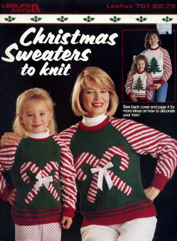 Mother & Child Christmas Sweaters to Knit Leisure Arts Pattern Leaflet