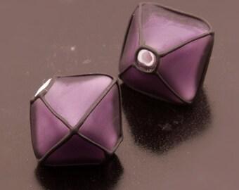 Violet Purple Lampwork Beads Handmade Glass Etched Crystals Black Pair Heather Behrendt BHV SRA LETeam
