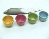 Miniature Pottery Set of 4 Teeny Tiny Bowls Dollhouse Scale DHS Jewel Tone ~ 1 Set Ready~ Now Aqua Red Lime Orange Tiny Hand Turned Pottery