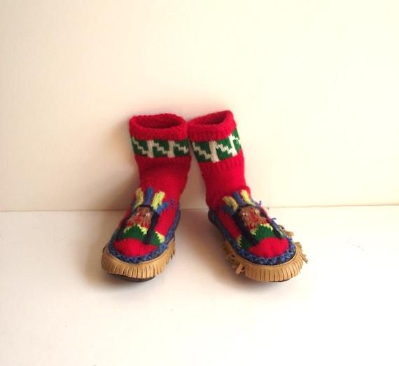 50s Ripon Kids Slipper Socks /  Vintage Kids  Moccasins /  Wool Knit Slippers /  Childrens Sock Mocs