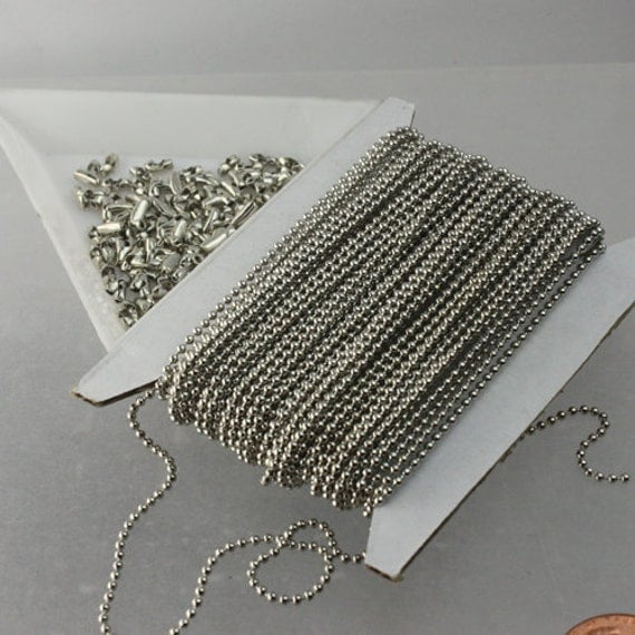 32 ft. spool of Rhodium Plated ROUND ball chain - 1.5mm ball size with 100 pcs of Connectors(Insert type) - ship from CA USA
