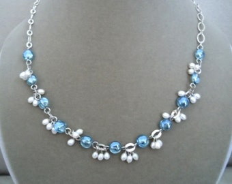 NEW Sydney -- Sapphire Mystic Quartz and Freshwater Pearl necklace