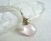 Sterling Silver Wire Wrapped Rose Quartz Gemstone Necklace