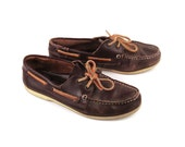 Distressed Boat Shoes Vintage 1980s  Brown Distressed Leather Boat Shoes Men's 9 M