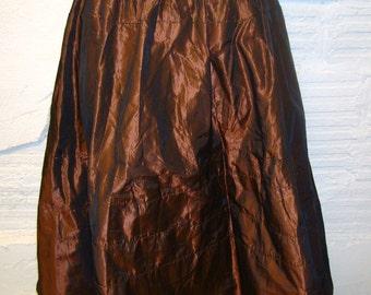 Vintage Taffeta Crinoline Bronze and Green Crinoline Petticoat