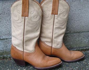 Frye Cowboy Boots Vintage 1980s Two tone Cowboy Women's size 6