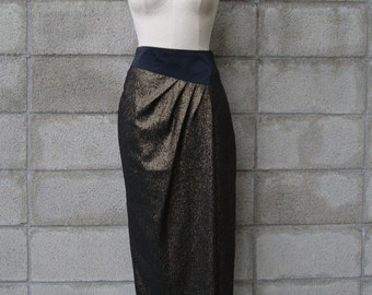 High Waist Skirt Pencil 1980s Vintage Gold and Black