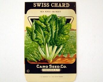 Vintage 1920s Unused Paper Seed Packet Swiss Chard