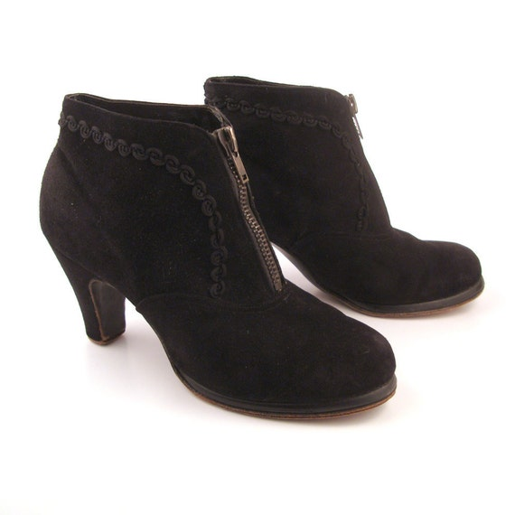 Suede Ankle Boots Vintage 1940s Black Suede Leather Ankle Boots