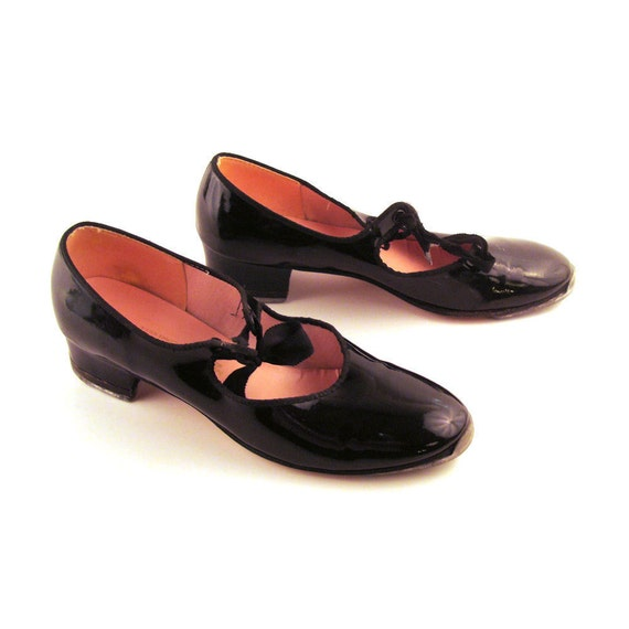 Tap Dance Shoes Vintage 1980s Capezio Mary Janes Women's size 8 1/2
