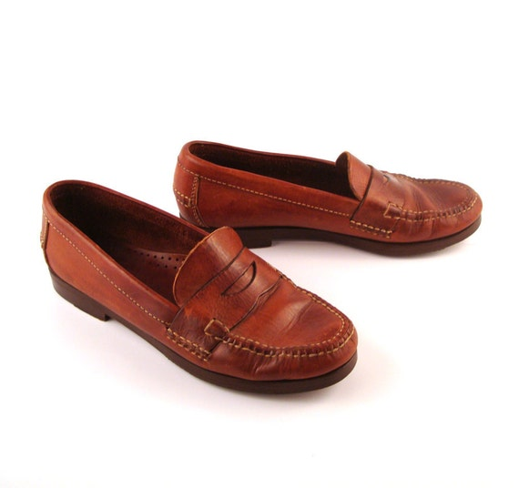 Cole Haan Loafers Brown Vintage 1980s Leather Shoes Women's size 7