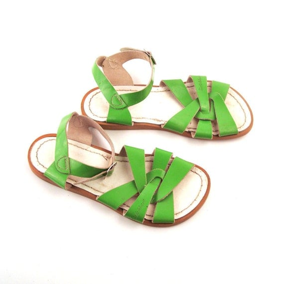 Green Saltwater Sandals Vintage 1980s Saltwater Green Patent Leather Sandals Women's size 4